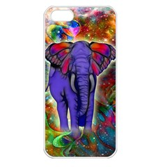 Abstract Elephant With Butterfly Ears Colorful Galaxy Apple Iphone 5 Seamless Case (white) by EDDArt