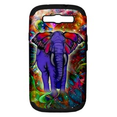 Abstract Elephant With Butterfly Ears Colorful Galaxy Samsung Galaxy S Iii Hardshell Case (pc+silicone) by EDDArt