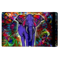 Abstract Elephant With Butterfly Ears Colorful Galaxy Apple Ipad 2 Flip Case by EDDArt