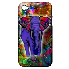 Abstract Elephant With Butterfly Ears Colorful Galaxy Apple Iphone 4/4s Hardshell Case (pc+silicone)