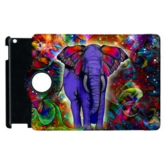 Abstract Elephant With Butterfly Ears Colorful Galaxy Apple Ipad 3/4 Flip 360 Case by EDDArt