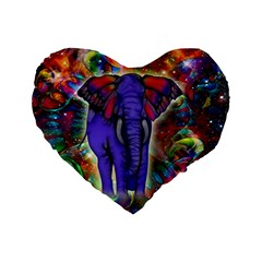 Abstract Elephant With Butterfly Ears Colorful Galaxy Standard 16  Premium Heart Shape Cushions by EDDArt