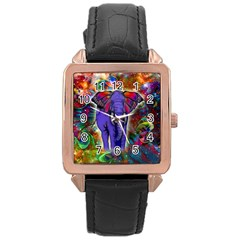 Abstract Elephant With Butterfly Ears Colorful Galaxy Rose Gold Leather Watch  by EDDArt