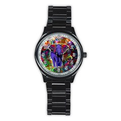 Abstract Elephant With Butterfly Ears Colorful Galaxy Stainless Steel Round Watch by EDDArt