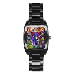 Abstract Elephant With Butterfly Ears Colorful Galaxy Stainless Steel Barrel Watch by EDDArt