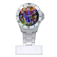 Abstract Elephant With Butterfly Ears Colorful Galaxy Plastic Nurses Watch
