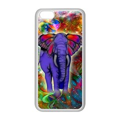 Abstract Elephant With Butterfly Ears Colorful Galaxy Apple Iphone 5c Seamless Case (white) by EDDArt