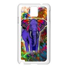 Abstract Elephant With Butterfly Ears Colorful Galaxy Samsung Galaxy Note 3 N9005 Case (white) by EDDArt