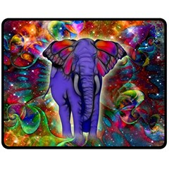 Abstract Elephant With Butterfly Ears Colorful Galaxy Double Sided Fleece Blanket (medium)  by EDDArt