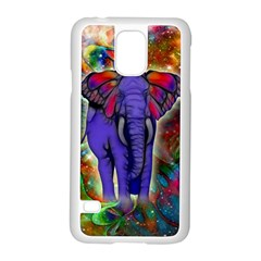 Abstract Elephant With Butterfly Ears Colorful Galaxy Samsung Galaxy S5 Case (white) by EDDArt