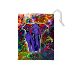 Abstract Elephant With Butterfly Ears Colorful Galaxy Drawstring Pouches (medium)  by EDDArt