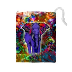Abstract Elephant With Butterfly Ears Colorful Galaxy Drawstring Pouches (large)  by EDDArt