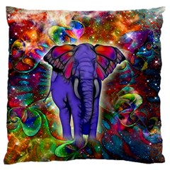 Abstract Elephant With Butterfly Ears Colorful Galaxy Large Flano Cushion Case (two Sides) by EDDArt
