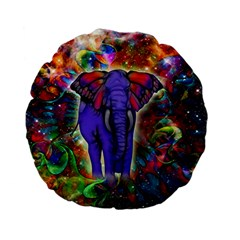 Abstract Elephant With Butterfly Ears Colorful Galaxy Standard 15  Premium Flano Round Cushions by EDDArt