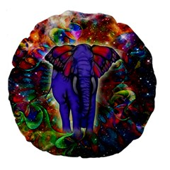 Abstract Elephant With Butterfly Ears Colorful Galaxy Large 18  Premium Flano Round Cushions by EDDArt