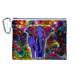 Abstract Elephant With Butterfly Ears Colorful Galaxy Canvas Cosmetic Bag (l) by EDDArt