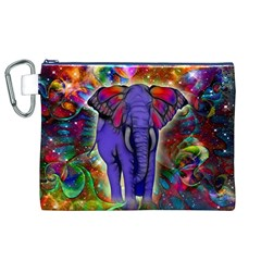Abstract Elephant With Butterfly Ears Colorful Galaxy Canvas Cosmetic Bag (xl) by EDDArt