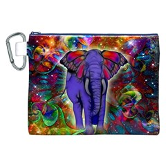 Abstract Elephant With Butterfly Ears Colorful Galaxy Canvas Cosmetic Bag (xxl) by EDDArt