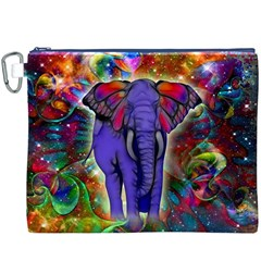 Abstract Elephant With Butterfly Ears Colorful Galaxy Canvas Cosmetic Bag (xxxl) by EDDArt