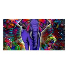 Abstract Elephant With Butterfly Ears Colorful Galaxy Satin Shawl by EDDArt