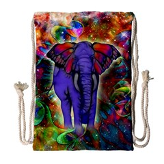 Abstract Elephant With Butterfly Ears Colorful Galaxy Drawstring Bag (large) by EDDArt