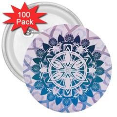 Mandalas Symmetry Meditation Round 3  Buttons (100 Pack)  by Amaryn4rt