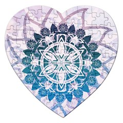 Mandalas Symmetry Meditation Round Jigsaw Puzzle (heart) by Amaryn4rt
