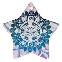 Mandalas Symmetry Meditation Round Star Ornament (two Sides)