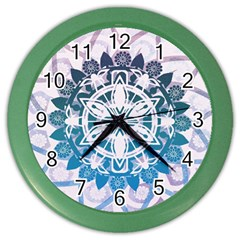 Mandalas Symmetry Meditation Round Color Wall Clocks by Amaryn4rt