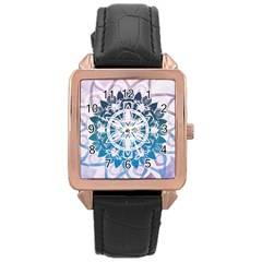 Mandalas Symmetry Meditation Round Rose Gold Leather Watch  by Amaryn4rt