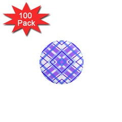 Geometric Plaid Pale Purple Blue 1  Mini Magnets (100 Pack)  by Amaryn4rt