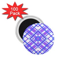 Geometric Plaid Pale Purple Blue 1 75  Magnets (100 Pack)  by Amaryn4rt