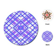 Geometric Plaid Pale Purple Blue Playing Cards (round)  by Amaryn4rt