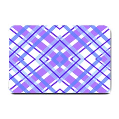 Geometric Plaid Pale Purple Blue Small Doormat  by Amaryn4rt