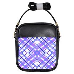 Geometric Plaid Pale Purple Blue Girls Sling Bags by Amaryn4rt