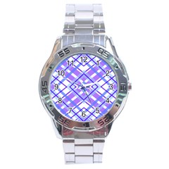 Geometric Plaid Pale Purple Blue Stainless Steel Analogue Watch by Amaryn4rt