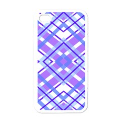 Geometric Plaid Pale Purple Blue Apple Iphone 4 Case (white) by Amaryn4rt