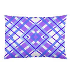 Geometric Plaid Pale Purple Blue Pillow Case (two Sides) by Amaryn4rt