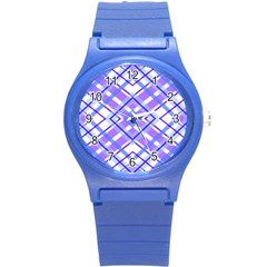 Geometric Plaid Pale Purple Blue Round Plastic Sport Watch (s) by Amaryn4rt