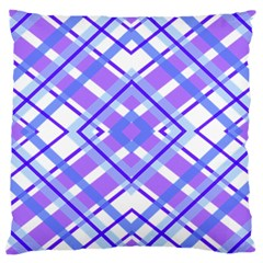 Geometric Plaid Pale Purple Blue Large Cushion Case (two Sides) by Amaryn4rt