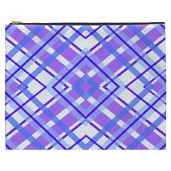 Geometric Plaid Pale Purple Blue Cosmetic Bag (xxxl)