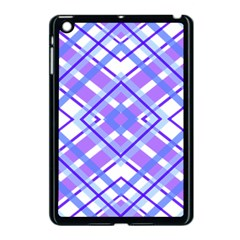Geometric Plaid Pale Purple Blue Apple Ipad Mini Case (black) by Amaryn4rt