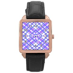 Geometric Plaid Pale Purple Blue Rose Gold Leather Watch