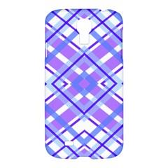 Geometric Plaid Pale Purple Blue Samsung Galaxy S4 I9500/i9505 Hardshell Case by Amaryn4rt