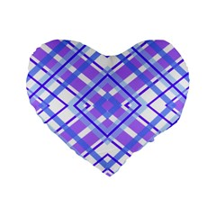 Geometric Plaid Pale Purple Blue Standard 16  Premium Flano Heart Shape Cushions by Amaryn4rt