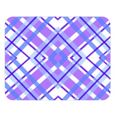 Geometric Plaid Pale Purple Blue Double Sided Flano Blanket (large)  by Amaryn4rt