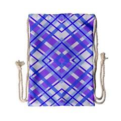 Geometric Plaid Pale Purple Blue Drawstring Bag (small) by Amaryn4rt