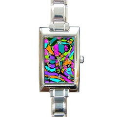 Abstract Art Squiggly Loops Multicolored Rectangle Italian Charm Watch by EDDArt