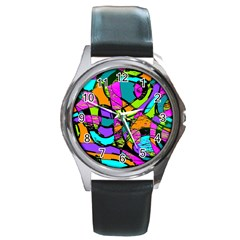 Abstract Art Squiggly Loops Multicolored Round Metal Watch by EDDArt