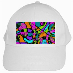 Abstract Art Squiggly Loops Multicolored White Cap by EDDArt